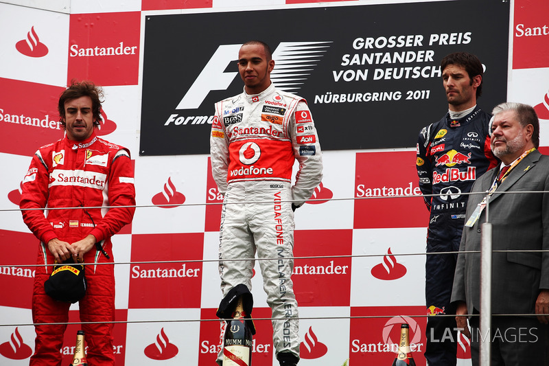 2011: Race winner Lewis Hamilton, McLaren; second place Fernando Alonso, Ferrari; third place Mark Webber, Red Bull Racing