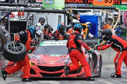 #93 Michael Shank Racing with Curb-Agajanian Acura NSX, GTD: Lawson Aschenbach, Justin Marks pit sto