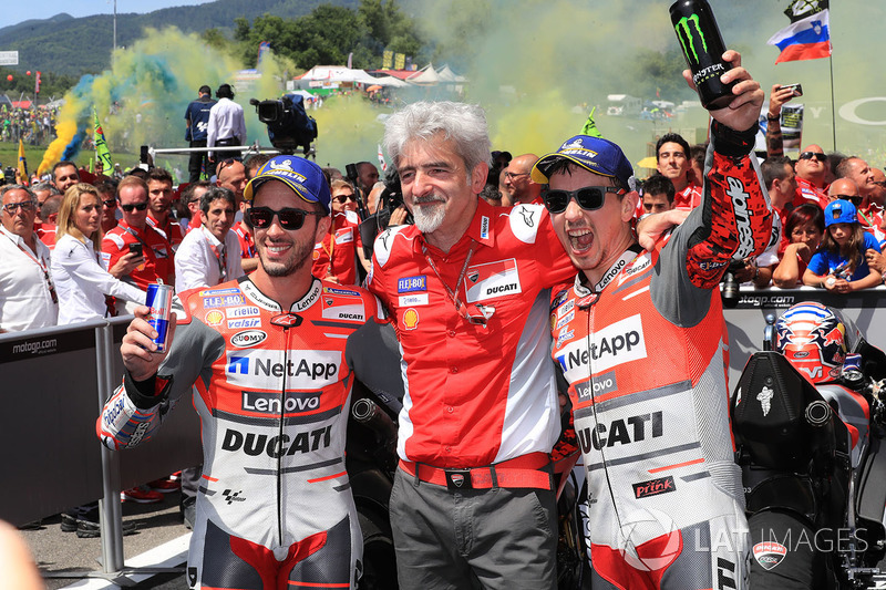 Second place Andrea Dovizioso, Ducati Team, Gigi Dall'Igna, Team General Manager Ducati, race winner Jorge Lorenzo, Ducati Team