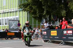Tom Sykes, Kawasaki Racing parc ferme after taking pole