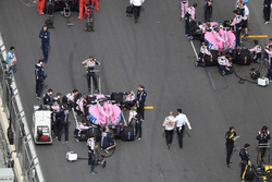 Sergio Perez, Force India VJM11 and Esteban Ocon, Force India VJM11 on the grid
