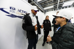 Lewis Hamilton, Mercedes AMG F1, signs autographs for kids