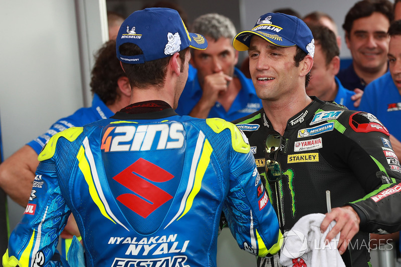 Il terzo classificato Alex Rins, Team Suzuki MotoGP, il secondo classificato Johann Zarco, Monster Yamaha Tech 3