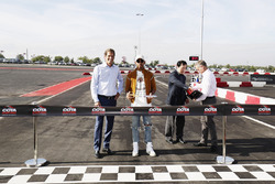COTA chairman Bobby Epstein and Lewis Hamilton, Mercedes AMG F1, open the kart track