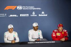 Valtteri Bottas, Mercedes-AMG F1 W09, Lewis Hamilton, Mercedes-AMG F1 and Kimi Raikkonen, Ferrari in the Press Conference