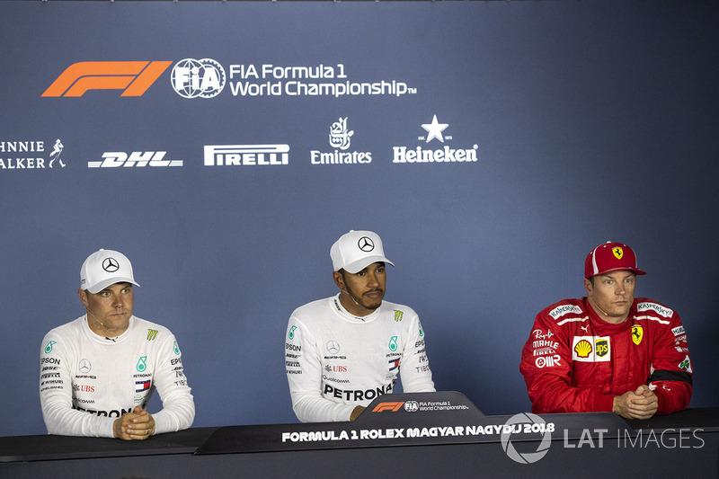 Valtteri Bottas, Mercedes-AMG F1 W09, Lewis Hamilton, Mercedes-AMG F1 y Kimi Raikkonen, Ferrari en rueda de prensa