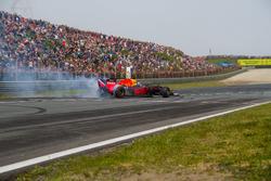 David Coulthard makes a burnout