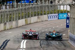 Sam Bird, DS Virgin Racing, leads Luca Filippi, NIO Formula E Team