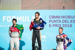 Jean-Eric Vergne, Techeetah, celebra en el podio con Lucas di Grassi, Audi Sport ABT Schaeffler, Sam Bird, DS Virgin Racing