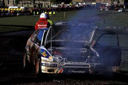 The Toyota Corolla of Carlos Sainz, Luis Moya after failing within yards of the finishing line in Ma