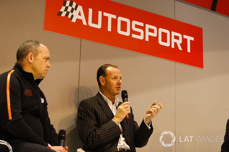 Lawrence Tomlinson of Ginetta on the Autosport Stage