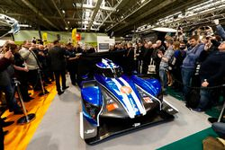 The Ginetta LMP1 car is unveiled, Graeme Lowdon and Ginetta boss Lawrence Tomlinson pulls the covers