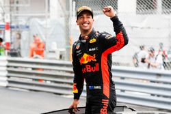Race winner Daniel Ricciardo, Red Bull Racing, celebrates in Parc Ferme