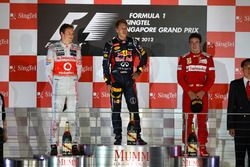 Podium: winner Sebastian Vettel, Red Bull Racing, second place Jenson Button, McLaren, third place Fernando Alonso, Ferrari