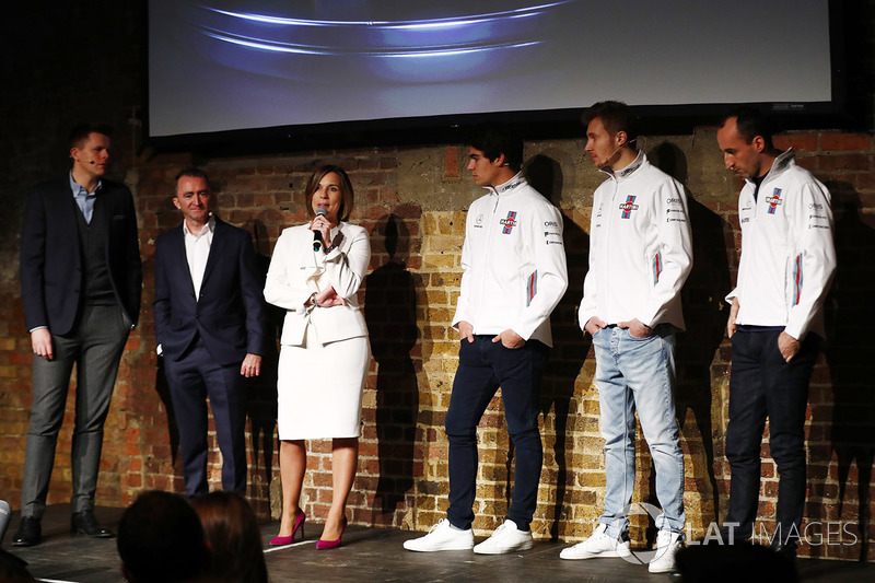 Jake Humphrey, Paddy Lowe, Claire Williams, Lance Stroll, Sergey Sirotkin and Robert Kubica on stage