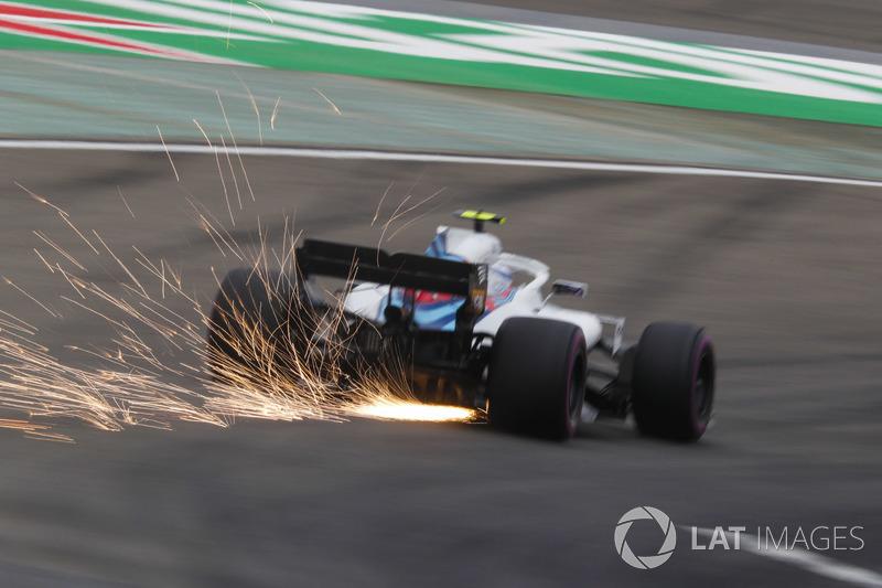 Si alzano scintille dalla monoposto di Sergey Sirotkin, Williams FW41 Mercedes
