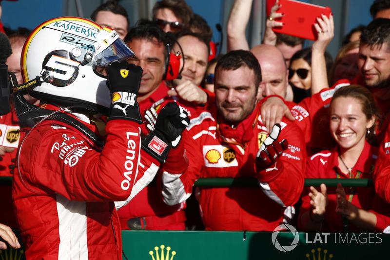 Sebastian Vettel, Ferrari, 1st position. celebrates victory on arrival in Parc Ferme