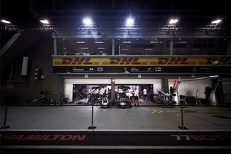 The AMG Mercedes garage of Lewis Hamilton, Mercedes AMG F1, and Valtteri Bottas, Mercedes AMG F1, in the pit lane at night