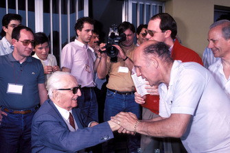Modena 1986, Enzo Ferrari, Stirling Moss, during the Mille Miglia veterans parade at the Scaglietti factory