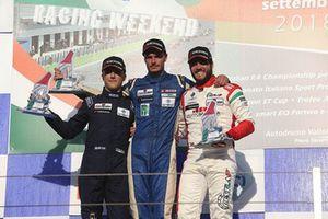 Podio Rookie Gara 1: il secondo classificato Simone Riccitelli, Kinetic Racing, il vincitore della gara Matteo Pollini, Giacomo Race, il terzo classificato Andrea Gagliardini, Best Lap
