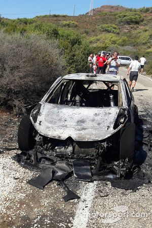 Craig Breen, Scott Martin, Citroën World Rally Team Citroën C3 WRC, burn car
