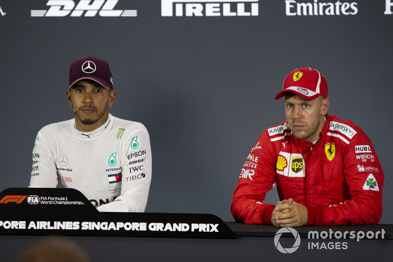 Lewis Hamilton, Mercedes AMG F1 and Sebastian Vettel, Ferrari in the Press Conference