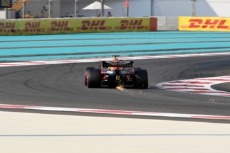 Max Verstappen, Red Bull Racing RB15, kicks up sparks