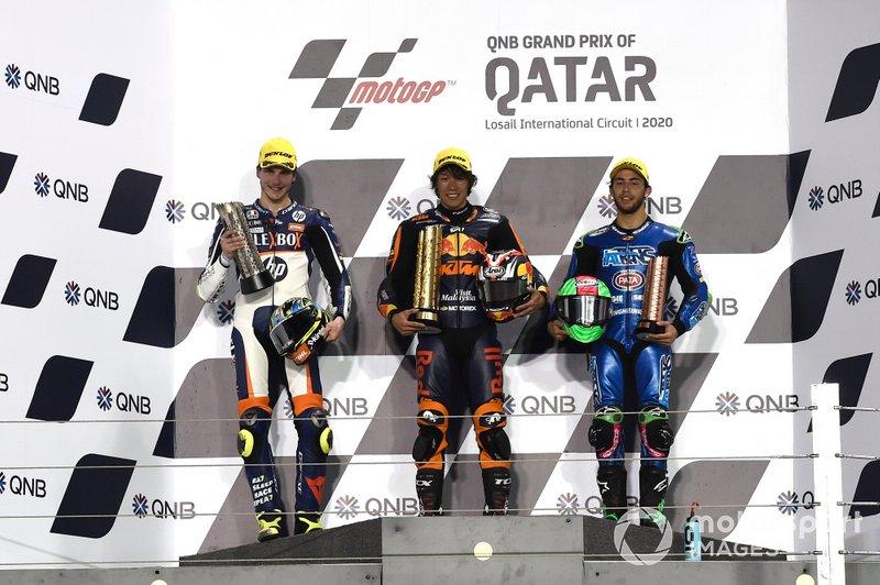 Podio: Aki Ajo, Lorenzo Baldassarri, Pons HP40, Tetsuta Nagashima, Red Bull KTM Ajo, Enea Bastianini, Italtrans Racing Team