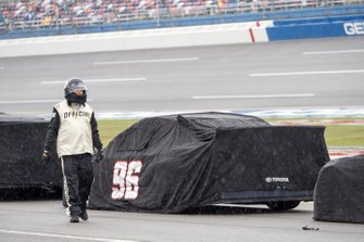 NASCAR official Parker Kligerman, Gaunt Brothers Racing, Toyota Camry TRD 40th Anniversary rain delay
