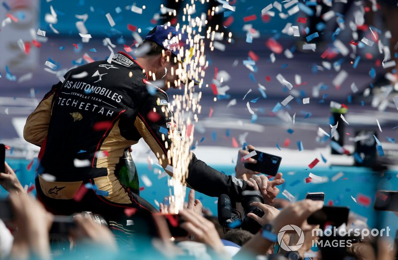Antonio Felix da Costa, DS Techeetah, 2nd position celebrates on the podium