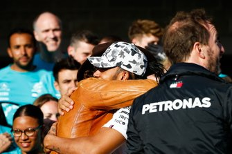 Actor and friend Matthew McConnaughtey congratulates Lewis Hamilton, Mercedes AMG F1, 2nd position, on securing his sixth drivers world championship title