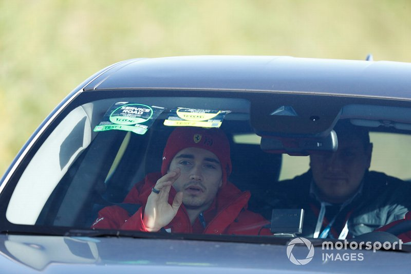 Charles Leclerc, Ferrari arrives at the track