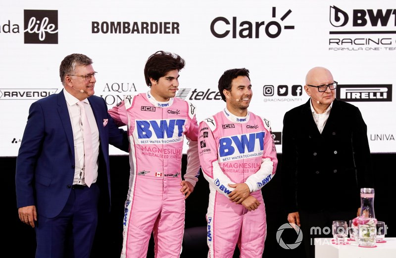 Sergio Pérez, Racing Point, Lance Stroll, Racing Point, Otmar Szafnauer, Director y CEO, Racing Point y Andreas Weissenbacher, CEO, BWT