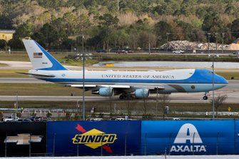 Donald J Trump, The President of The United States and Grand Marshall for the Daytona 500 Leaves on Air Force One