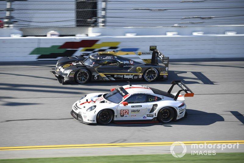 #912 Porsche GT Team Porsche 911 RSR - 19, GTLM: Laurens Vanthoor, Earl Bamber, Mathieu Jaminet, #5 Mustang Sampling Racing / JDC-Miller MotorSports Cadillac DPi, DPi: Sebastien Bourdais, Loic Duval, Joao Barbosa