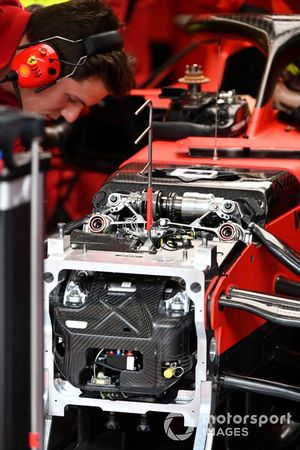 Suspension detail on Sebastian Vettel's Ferrari SF1000