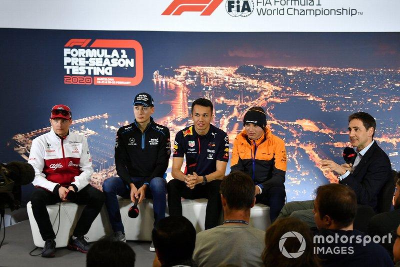 Kimi Raikkonen, Alfa Romeo, George Russell, Williams Racing, Alexander Albon, Red Bull Racing y Lando Norris, McLaren en la conferencia de prensa