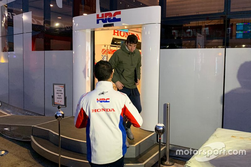 Alex Marquez at the Honda HRC motorhome