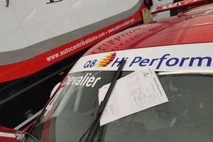 Dettaglio della scheda di verifica tecnica sulla Porsche di Hugo Chevalier, AB Racing
