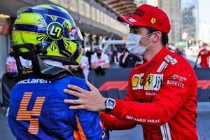 Polesitter Charles Leclerc, Ferrari with Lando Norris, McLaren