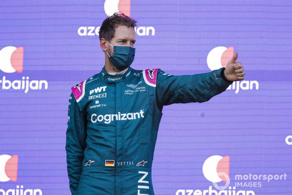 Podium: second place Sebastian Vettel, Aston Martin