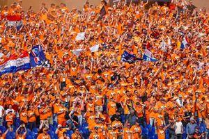 Dutch fans create a sea of orange in a grandstand