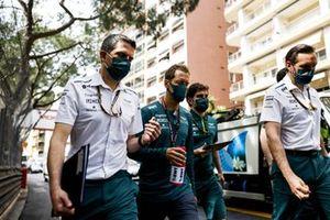 Sebastian Vettel, Aston Martin, walks the track with team mates