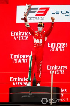 Arthur Leclerc, Prema Racing, 1st position, on the podium with his trophy
