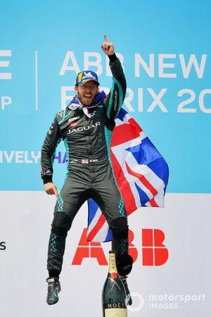 Sam Bird, Jaguar Racing, first position, celebrates on the podium