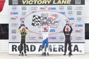 Colton Herta, Andretti Autosport Honda, Race winner Alex Palou, Chip Ganassi Racing Honda, Will Power, Team Penske Chevrolet