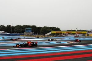 Sergio Perez, Red Bull Racing RB16B, leads Charles Leclerc, Ferrari SF21, and Pierre Gasly, AlphaTauri AT02