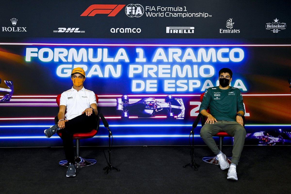 Lando Norris, McLaren, Lance Stroll, Aston Martin en la conferencia de prensa