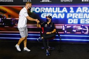 Nikita Mazepin, Haas F1 and Sergio Perez, Red Bull Racing in the Press Conference