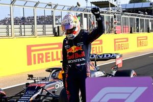 Max Verstappen, Red Bull Racing, celebrates in Parc Ferme after Qualifying